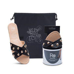 Show Stopper Gold Stud Criss Cross Sandals